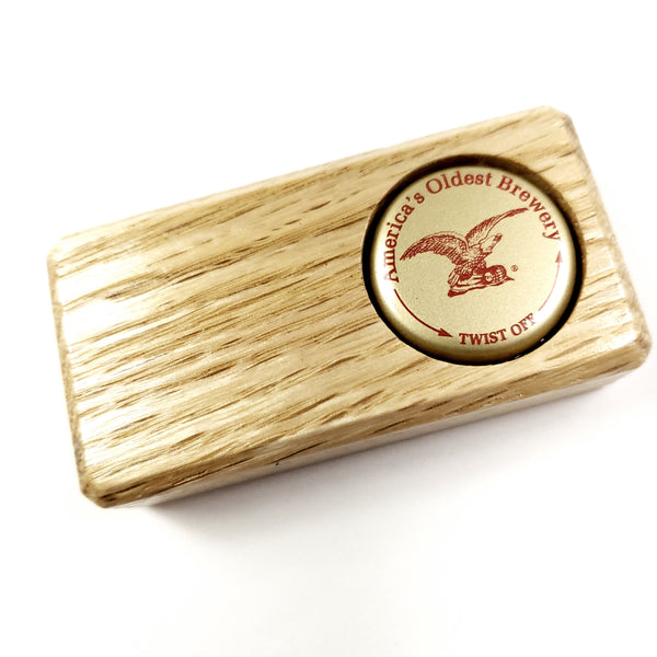 Oak Bottle Opener w/ Yuengling Bottle Cap Inlay