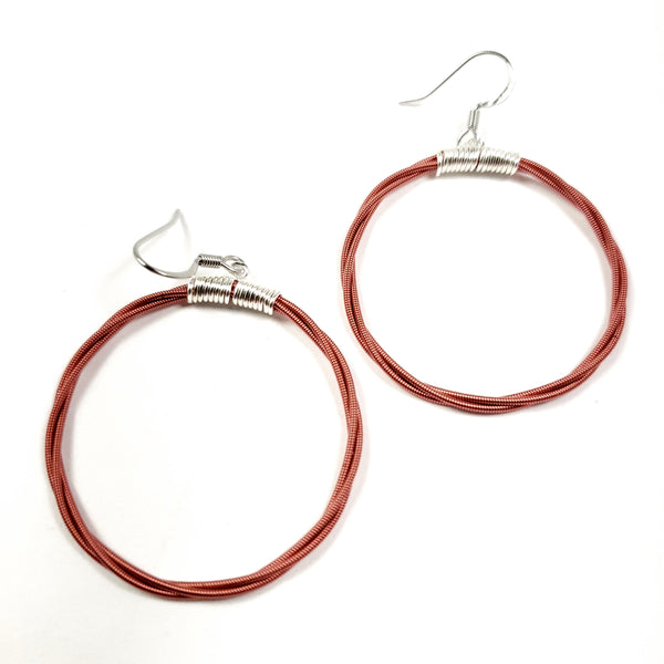 Red Guitar String Hoop Earrings