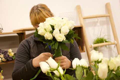 Iibuse was demonstrating how to arrange a bouquet