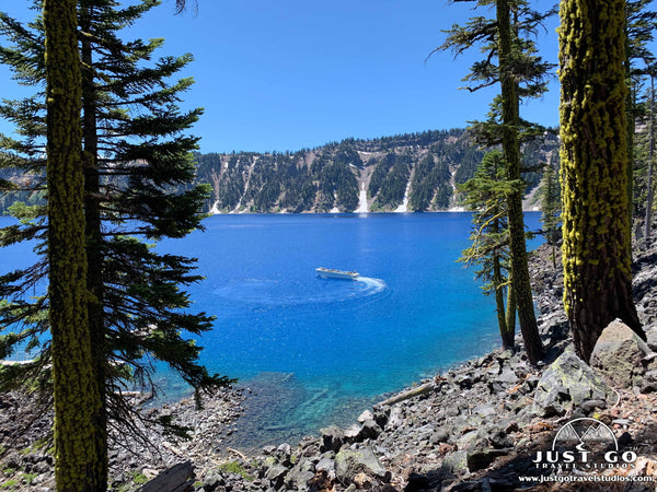 hiking on the wizard island summit trail in Crater Lake National Park