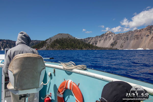taking the shuttle boat to wizard island in Crater Lake National Park