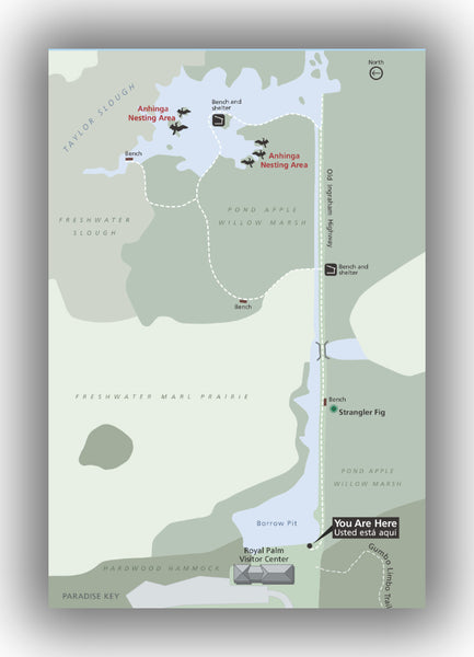 Anhinga Trail map in Everglades National Park