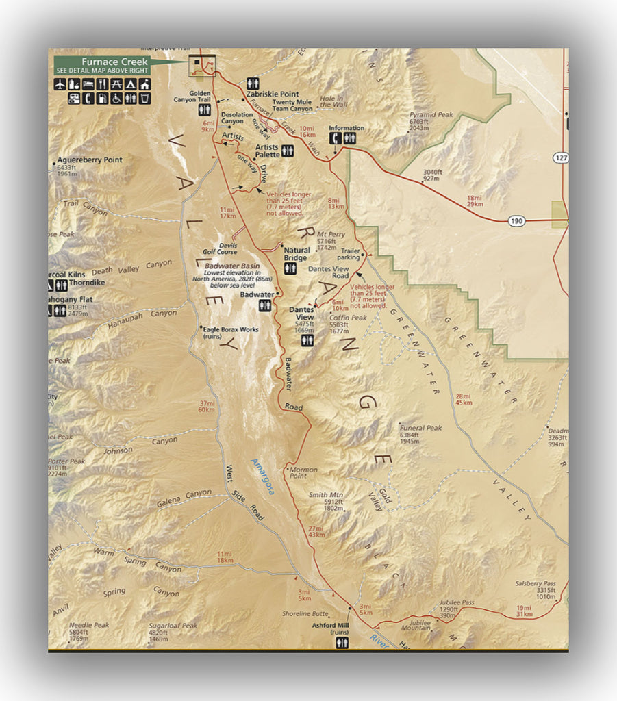 Badwater Road Map in Death Valley National Park