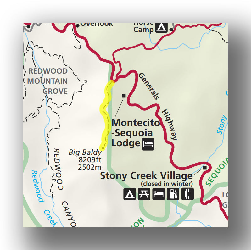 Big Baldy Ridge Trail map in Kings Canyon National Park