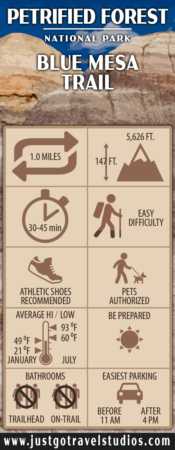 Blue Mesa Trail Infographic for Petrified Forest National Park