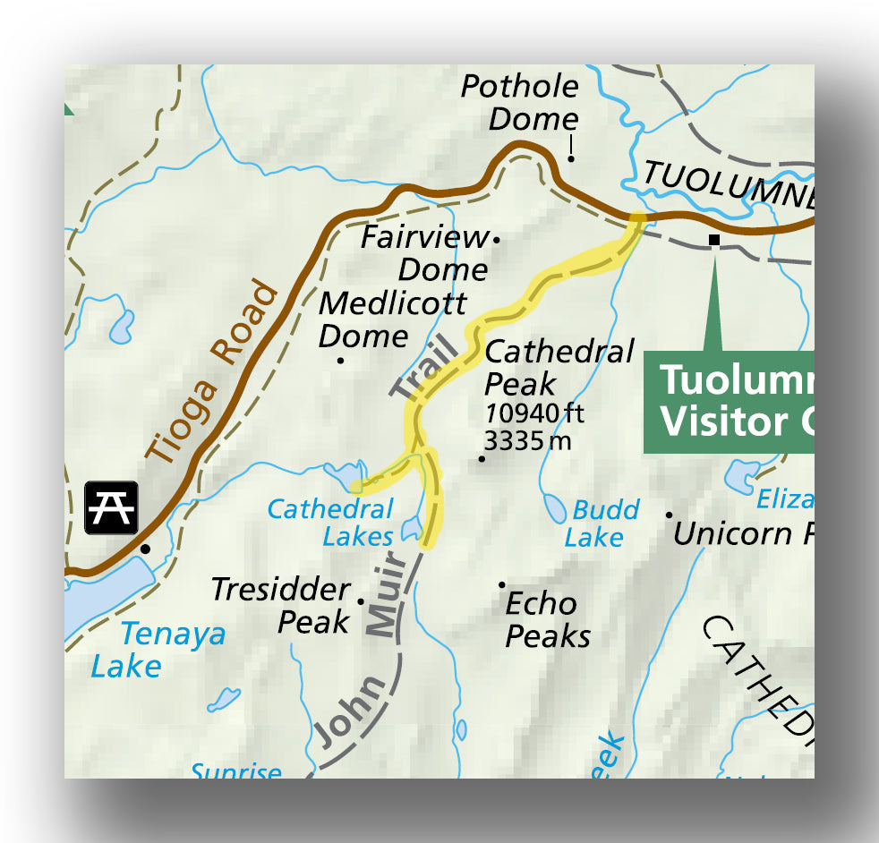 Cathedral lakes trail map in Yosemite National Park