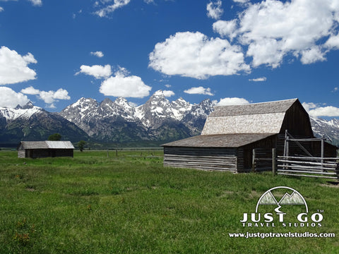 Cabins in Mormon Row in Grand Teton National Park
