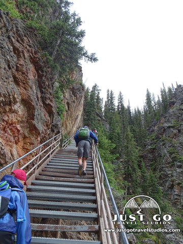 Hiking up the stairs on Uncle Toms Trail in Yellowstone National Park