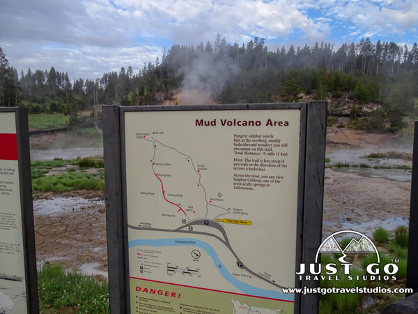 Mud Volcano trailmap in Yellowstone National Park