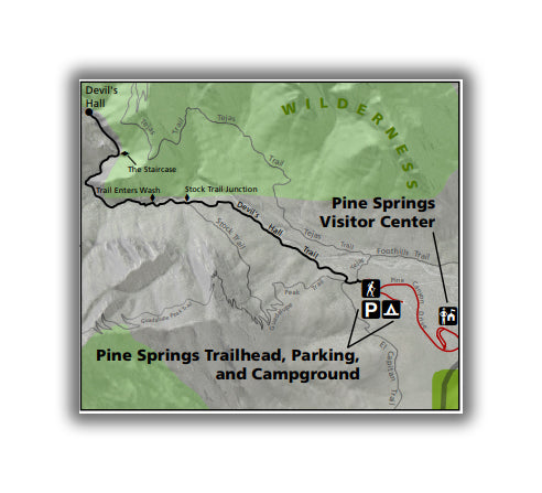 Devil's Hall Trail Map in Guadalupe Mountains National Park
