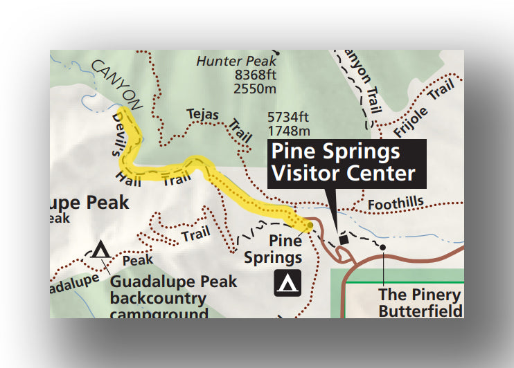 Devils Hall Trail map in Guadalupe Mountains National Park