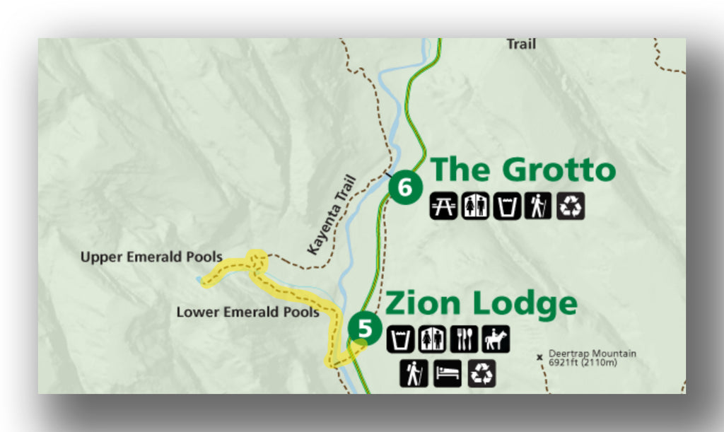 Emerald Pools Trail map in Zion National Park