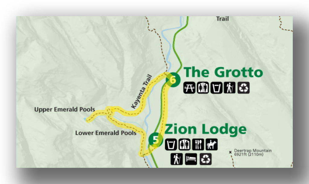 Map of the emerald pools trail with the Kayenta Trail in Zion National Park