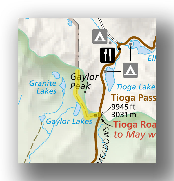 Gaylor Lakes Map in Yosemite National Park