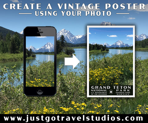 Vintage National Park posters from Just Go Travel Studios
