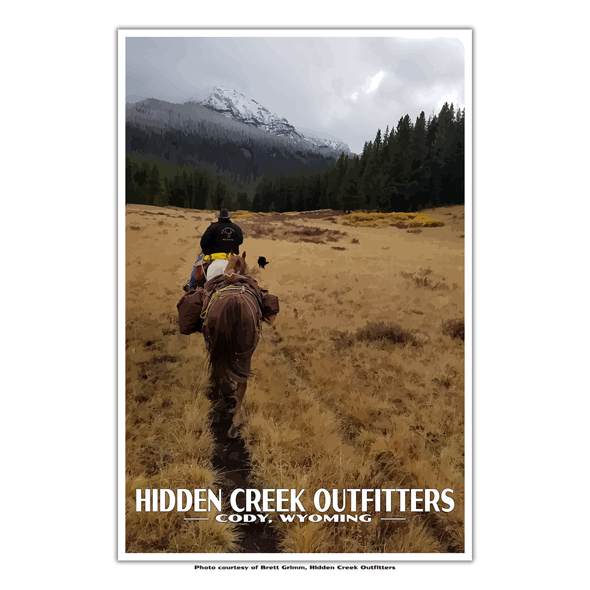 Hidden Creek Outfitters in Cody, WY Custom Travel Poster