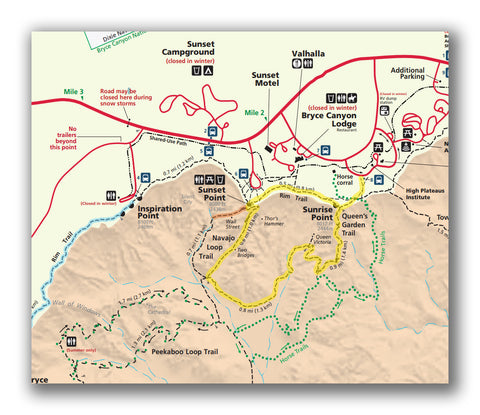 Map for Queens Garden and Navajo Loop from National Park Service
