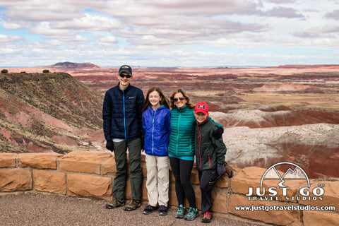 The family in Petrified Forest National Park