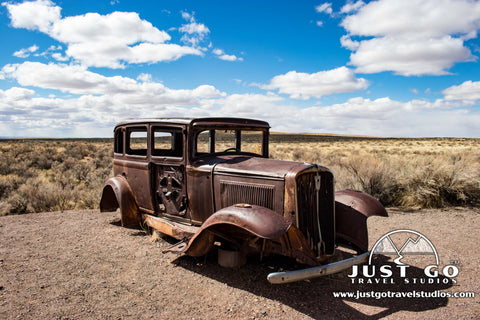 Route 66 Stop with Studebaker in Petrified Forest National Park