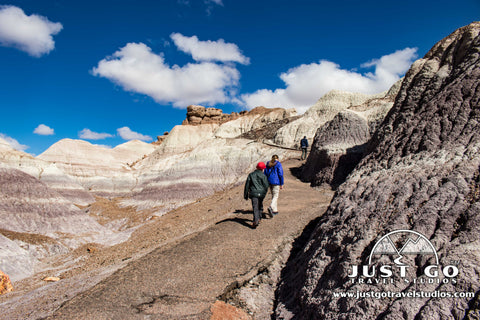 Hiking up from the bottom of the Blue Mesa trail