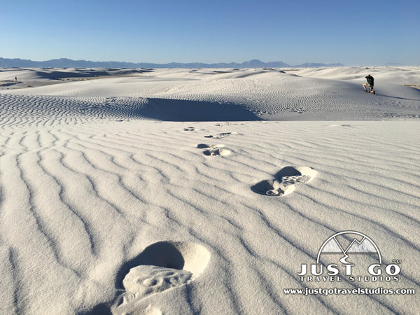 footprints in White Sands National Monument