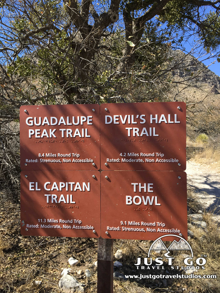 Trailhead markers for the Devil's Hall Trail in Guadalupe Mountains National Park