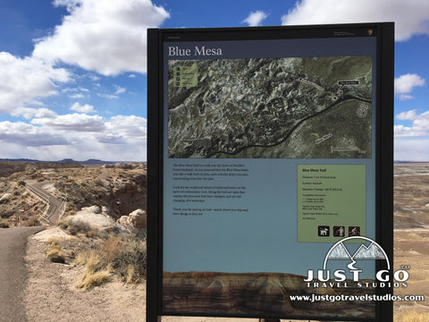 Blue Mesa Trail trailside sign in Petrified Forest National park
