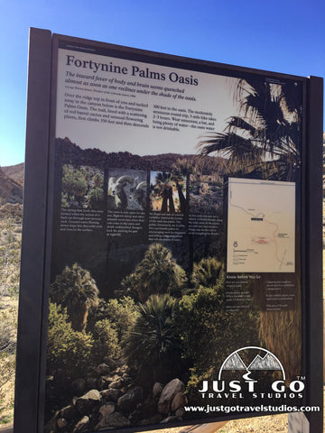 Fortynine Palms Oasis Trailhead Sign in Joshua Tree National Park