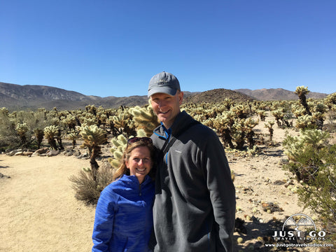 Amy and Pete in the Cholla Cactus garden in Joshua Tree National Park