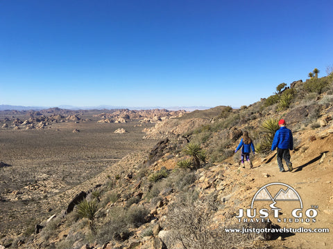 Hiking down the Ryan Mountain Trail in Joshua Tree National Park