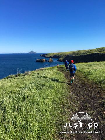 Hiking back towards Scorpion Bay on the North Bluff trail on Santa Cruz Island