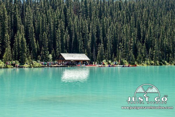 Canoe line on Lake Louise in Banff National Park
