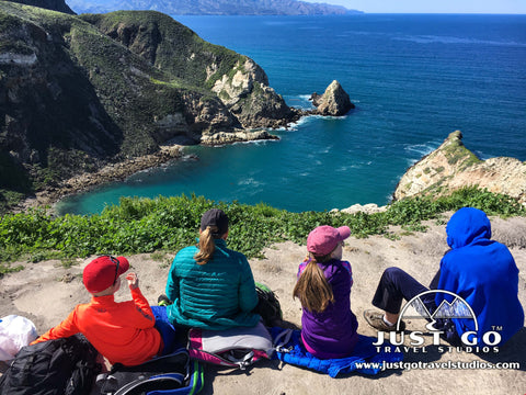 Eating lunch while overlooking Potato Harbor on Santa Cruz Island on Channel Islands National Park