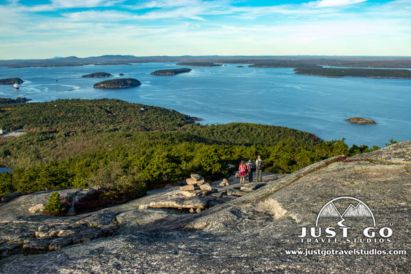 Hiking down on the Precipice Trail in Acadia National Park