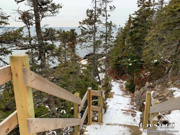 Stairs down to Bass Harbor Lighthouse in Acadia National Park