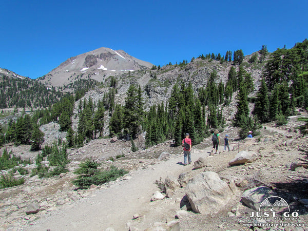 Hiking back from bumpass hell in Lassen Volcanic National Park