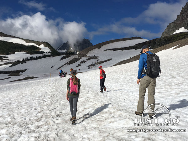 Snowy trail on the Hidden Lake Overlook Trail in Glacier National Park