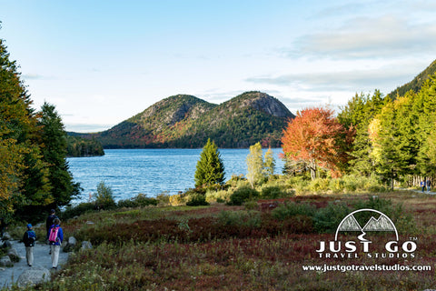 The bubbles in the backdrop of Jordan Pond in Acadia National Park