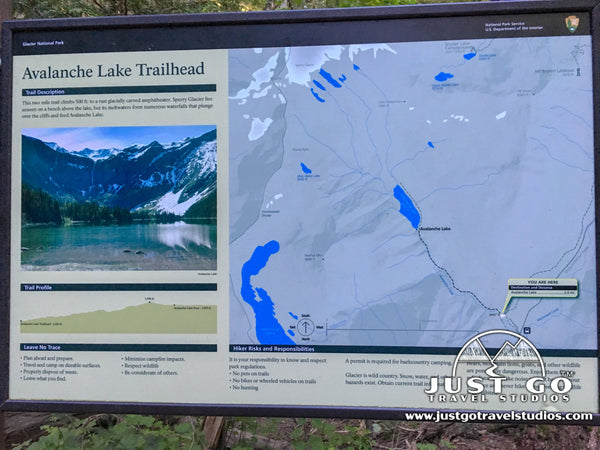Avalanche Lake Trail Map