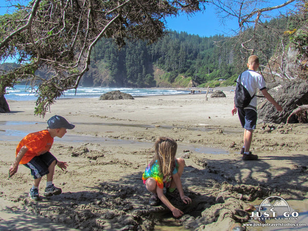 playing on the beach in Ecola State Park