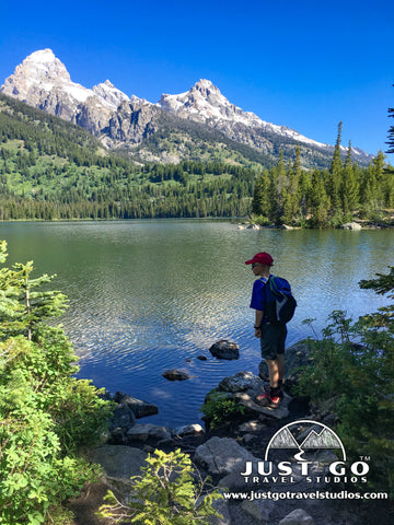 Looking from the shores of Taggart Lake in Grand Teton National Park