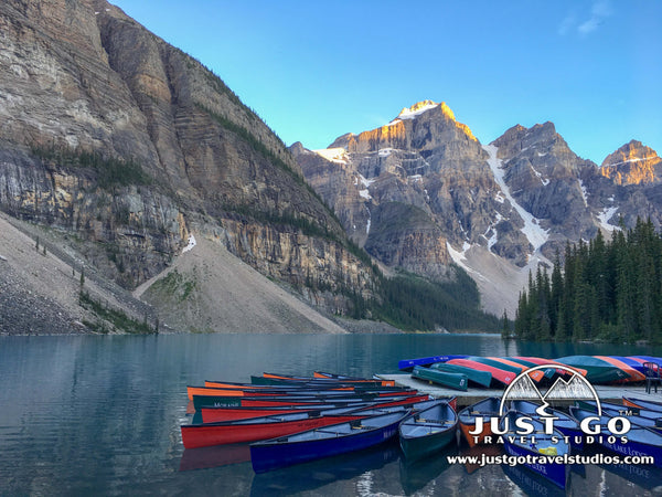 canoes on Moraine Lake in Banff National Park