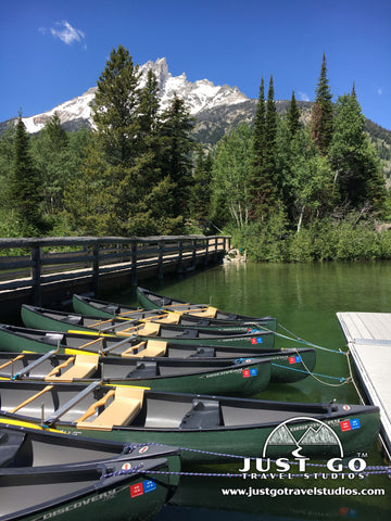 Canoes on Jenny Lake in Grand Teton National Park