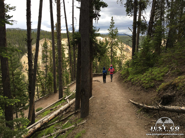 walking on the path to Uncle Tom's trail in Yellowstone