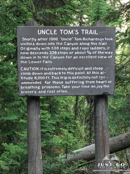 Uncle Tom's Trail in Yellowstone National Park sign