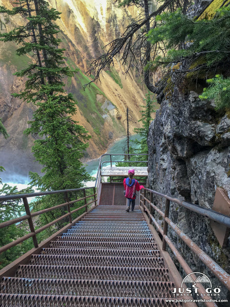 walking down the stairs on Uncle Tom's Trail in Yellowstone National Park