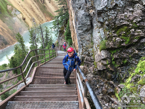 stairs on Uncle Tom's Trail in Yellowstone National Park