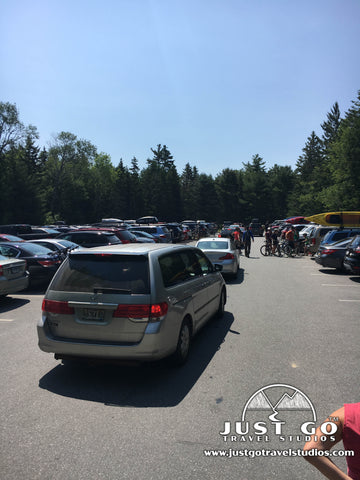 Crowded parking in Acadia National park