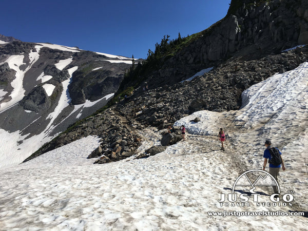 Hiking on the skyline trail in Mount Rainier National Park