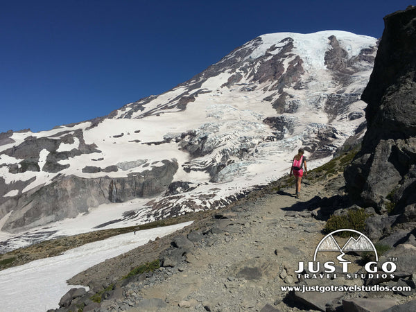 Hiking up past Panorama Point in Mount Rainier National Park